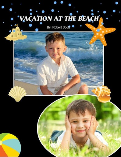 Beach Vacation Photobook, Classic Black Theme