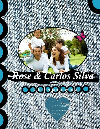 Latin Family Reunion Photo Album,Modern Jeans Theme